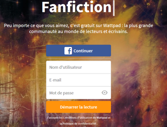 Inscription sur Wattpad